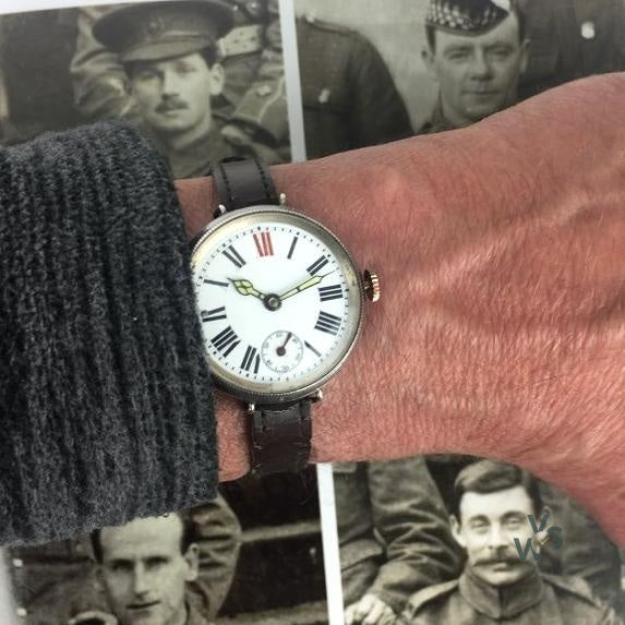 A Large Silver Screw Cased - Sylvain Dreyfuss 'Rotary' - WW1 Trench Watch - Hallmarked London c.1915 - Vintage Watch Specialist