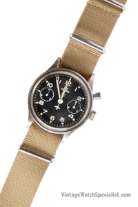 LEMANIA - MILITARY - SINGLE BUTTON CHRONOGRAPH WRISTWATCH - Circa 1940's