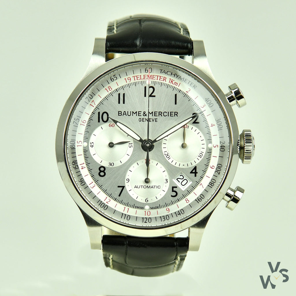 Baume & Mercier Ref: 10005 'Capeland' Chronograph Wristwatch with Spare OEM Strap - Vintage Watch Specialist
