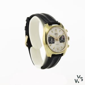 Bwc Two-Register Gold Plated C1960-1970 Chronograph - Vintagewatchspecialist