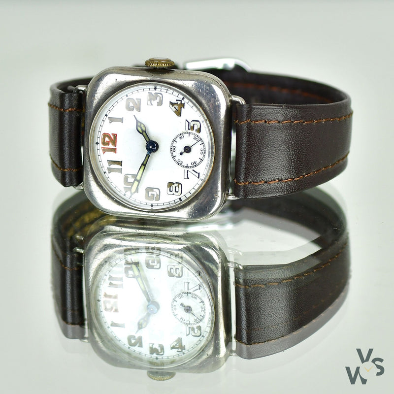 Silver Cusion Cased Trench Watch WWI - Vintage Watch Specialist