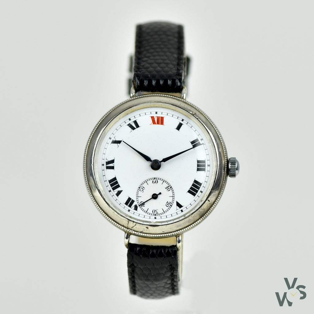 c.1924 Silver Cora Watch Swiss Trench-style watch - Roman numeral enamel dial - Vintage Watch Specialist