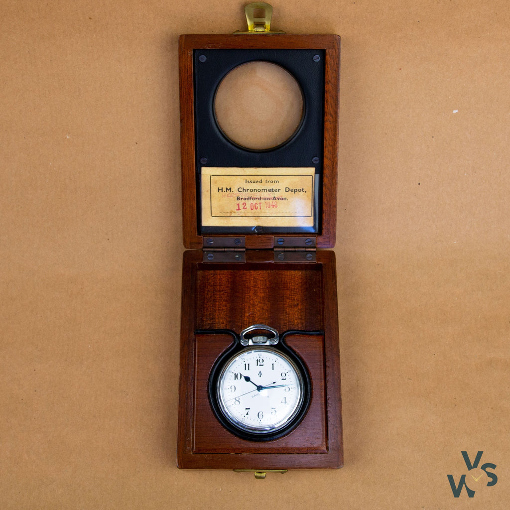 c.1942 British Military Hamilton 3992B Navigation Master Watch w/ Original Fitted Wooden Case - Vintage Watch Specialist