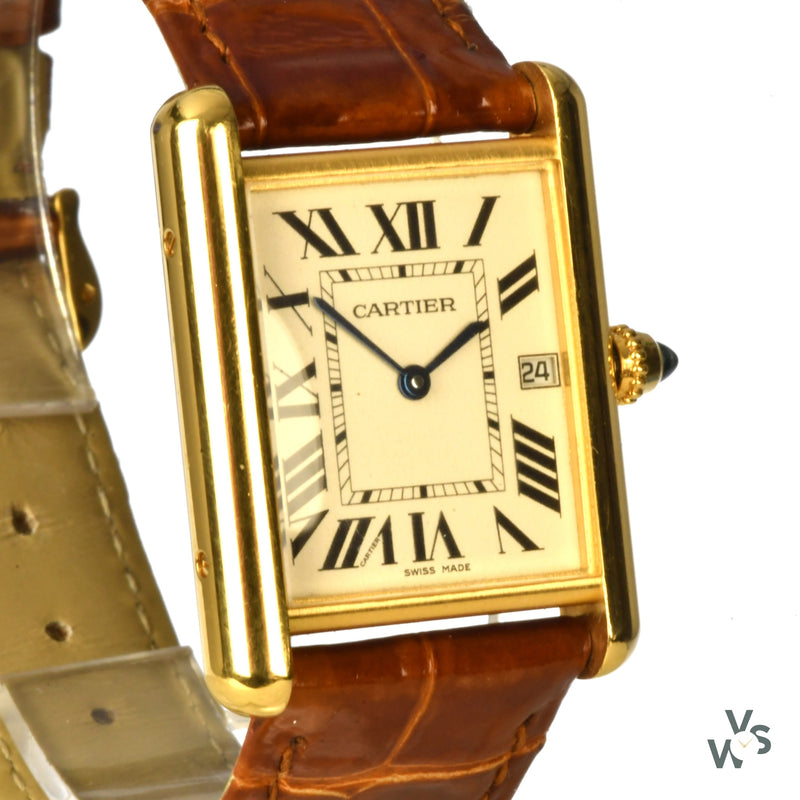 Cartier Tank Louis 18k Yellow Gold watch with Box and Papers - Vintage Watch Specialist