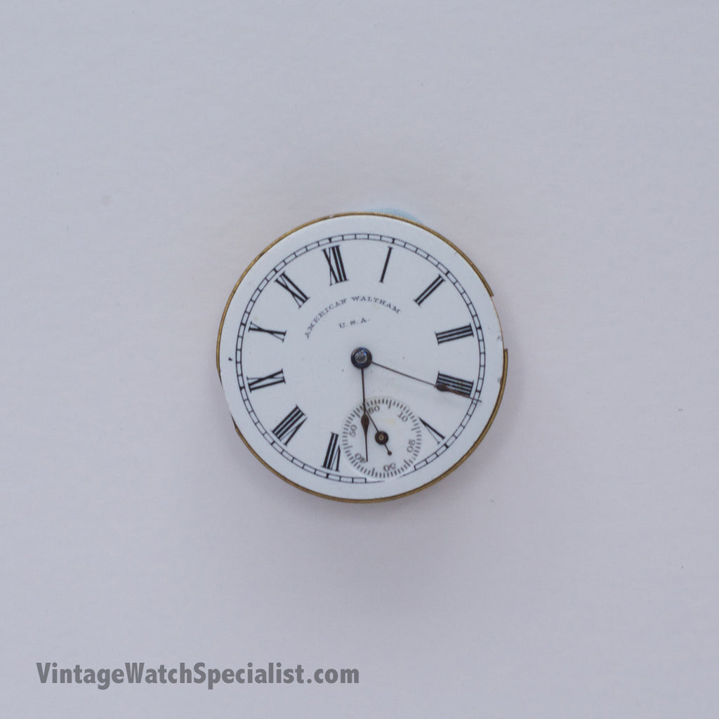AMERICAN WALTHAM USA POCKET WATCH MOVEMENT, DIAL AND HANDS AND CROWN