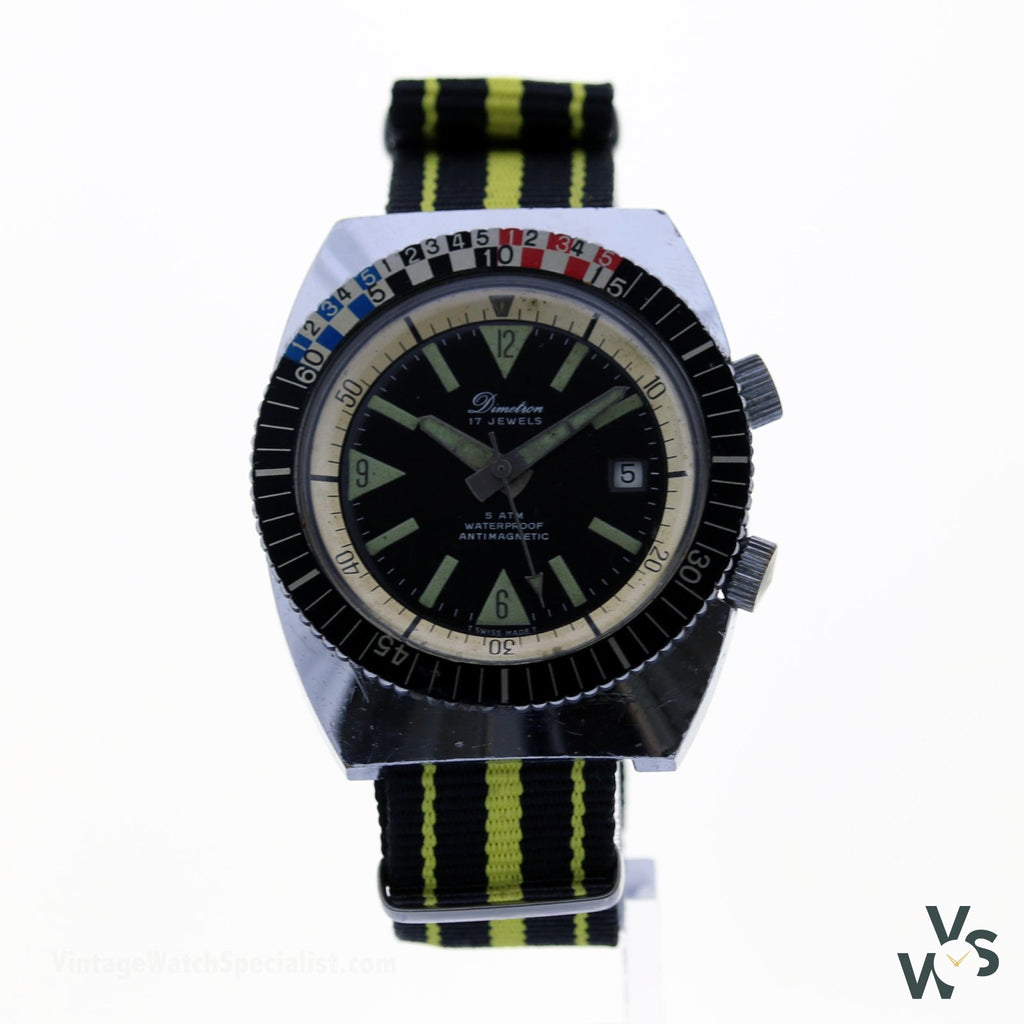 Dimetron Dual Crown Divers Watch - Vintage Watch Specialist