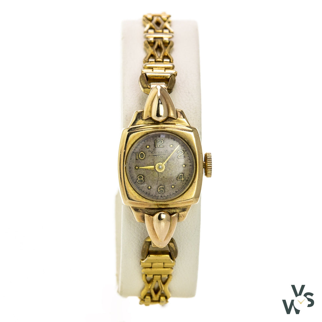 Everite 9K Gold Ladies Cocktail Watch - C.1920S - Vintagewatchspecialist