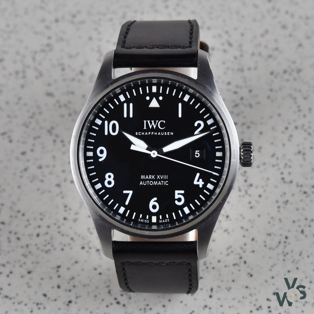 IWC Schaffhaussen S/S Automatic Pilot Watch Mark XVIII Black Dial - Vintage Watch Specialist