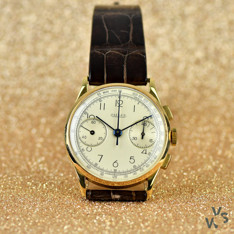 Jaeger LeCoultre 18ct. Gold Chronograph Dress Watch c.1940s - Vintage Watch Specialist
