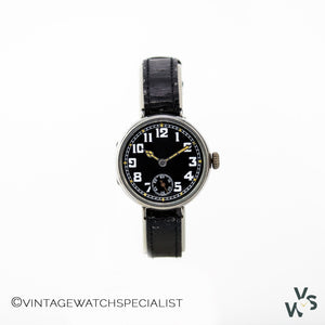 JW Silver Hallmarked Wire Lugged WW1 Trench Watch - Vintage Watch Specialist