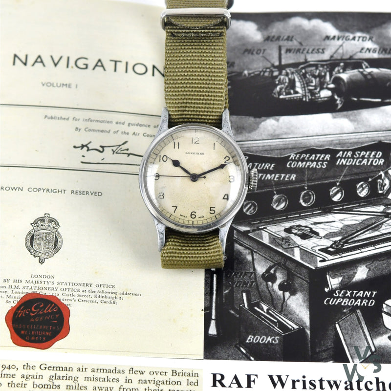Longines 6B/159 RAF-Issue WWII Military Watch - White Dial - Vintage Watch Specialist