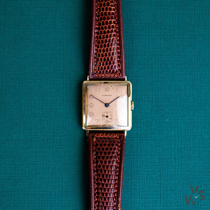 Longines Tank 18K Rose Gold Dress Watch - Salmon Dial c.1942 - Vintage Watch Specialist