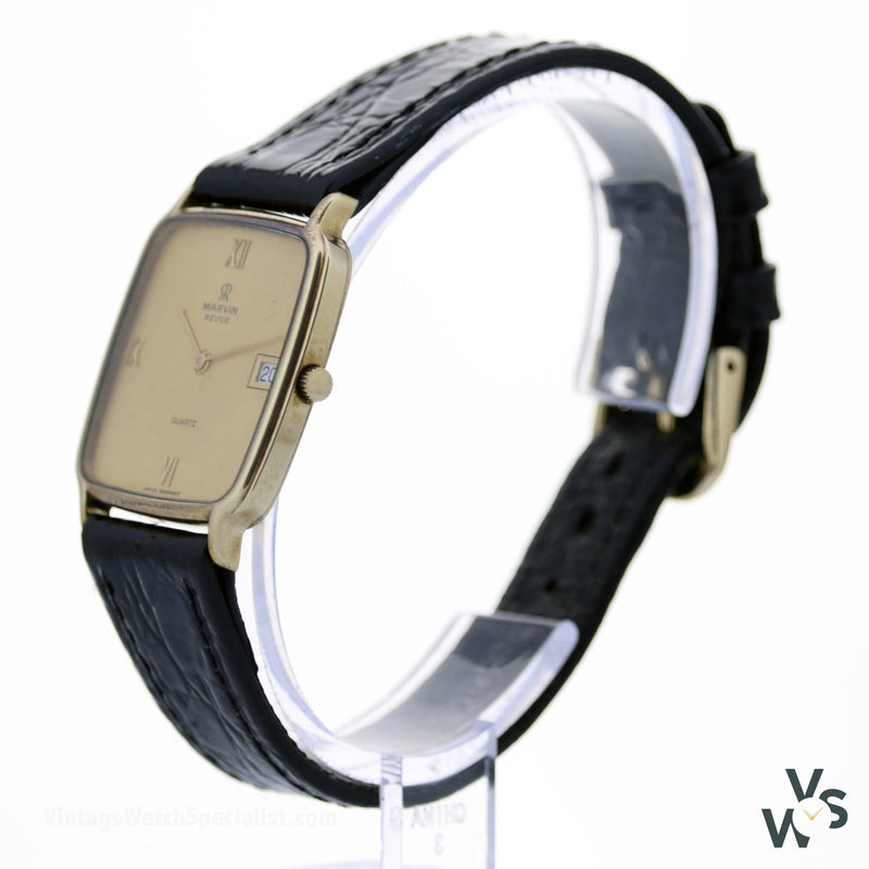 Marvin Revue 9K Gold Slim Cushion Case Quartz Watch Calibre Eta 255.441 - Vintagewatchspecialist