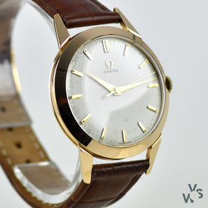 Omega 14 Carat Gold Dress Watch with Waffle Dial - Cal.283 - c.1954 - Vintage Watch Specialist