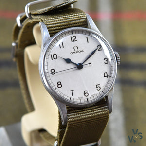 Omega 6B Military Watch White Dial - Vintage Watch Specialist