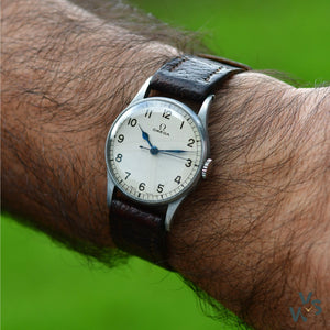 Omega 6B White Dial RAF Issued Military Watch - Vintage Watch Specialist