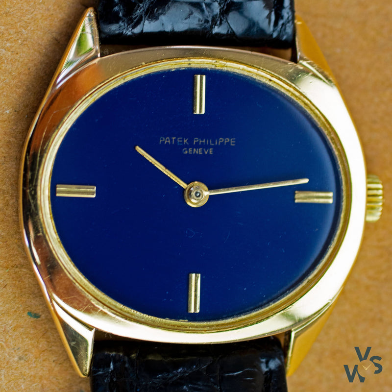 Patek Philippe Ref. 3581 Ellipse Solid 18K Gold Dress Watch - Blue Dial - Vintage Watch Specialist