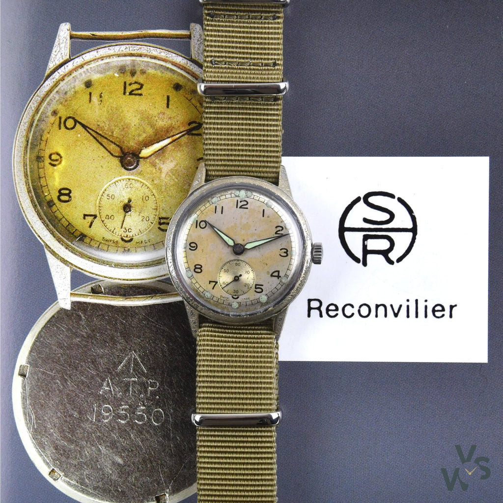 Reconvilier ATP - Screw-Down case back - WWII British Army-Issue c.1944 - Vintage Watch Specialist