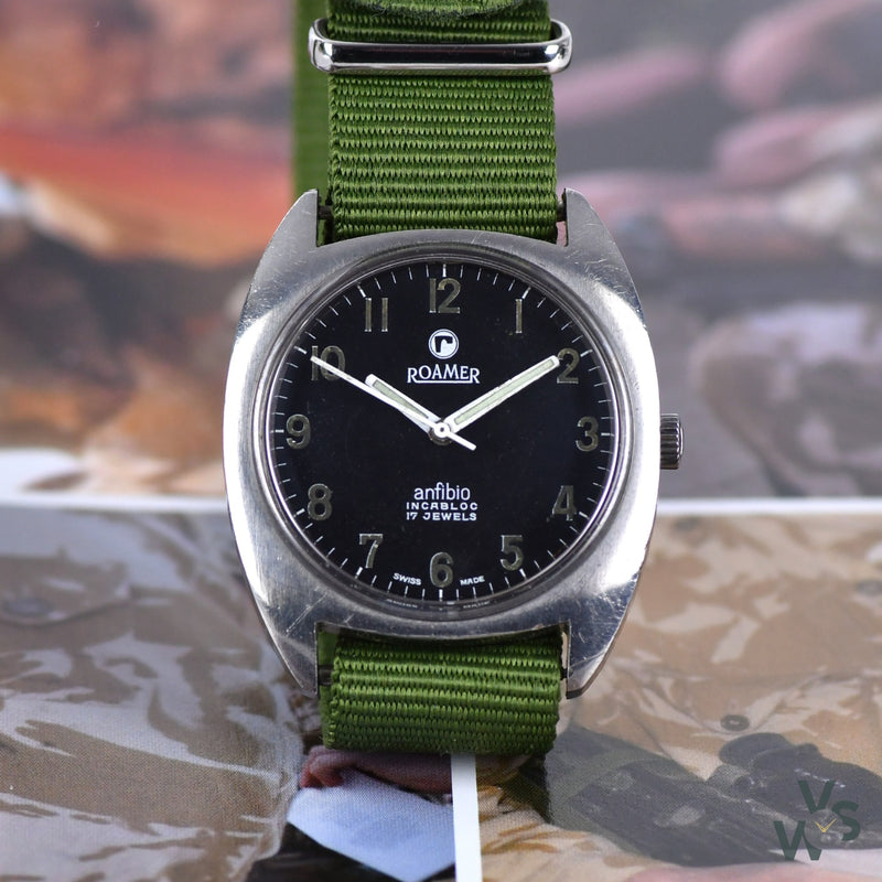 Roamer Rhodesian Anfibio Military Watch Issued 1973-1976 ref 520-1120.016 - Vintage Watch Specialist