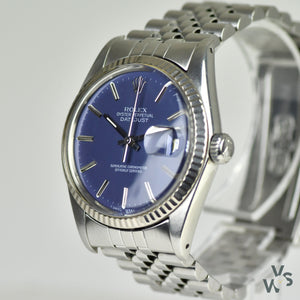 Rolex Datejust Oyster Perpetual Ref.16014 - White Gold fluted bezel - All original box and papers - Vintage Watch Specialist