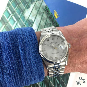 Rolex Datejust Ref. 16234 c.1996 - Roman Numeral Dial White Gold Fluted Bezel - Vintage Watch Specialist