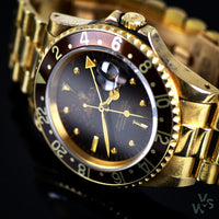 Rare Unisex Vintage Rolex Gold Oyster Perpetual GMT-Master Watch with 'Nipple Dial' - Ref. 16758 - c. 1982. - Vintage Watch Specialist