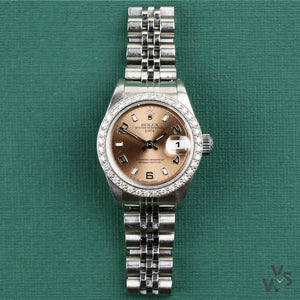 Rolex Ladies Datejust Diamond Bezel Pink Dial - Vintage Watch Specialist