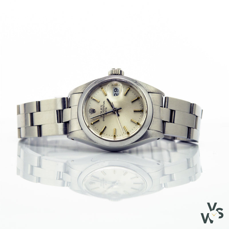Rolex Ladies Stainless Steel Oyster Date - Silver Baton Dial - C.1981 - Vintage Watch Specialist
