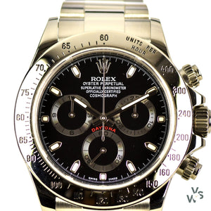 Rolex Oyster Perpetual Cosmograph Daytona - Pre-Ceramic Steel Watch with Black Dial - Vintage Watch Specialist