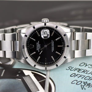 Rolex Oyster Perpetual Date With Black Dial. 15210. 2001. - Vintage Watch Specialist