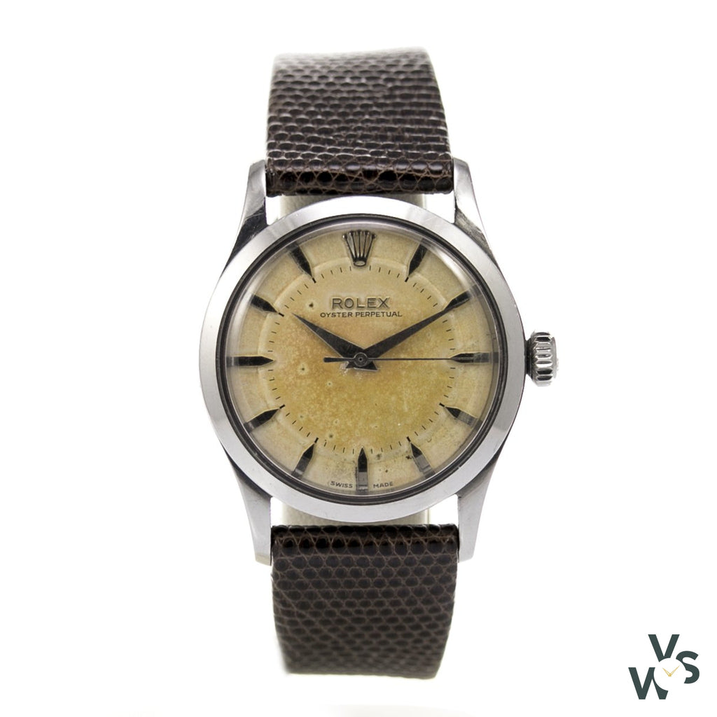 Rolex Oyster Perpetual - Straight Case - Stainless Steel Big Bubble Back Ref.6332 C.1954 - Vintagewatchspecialist