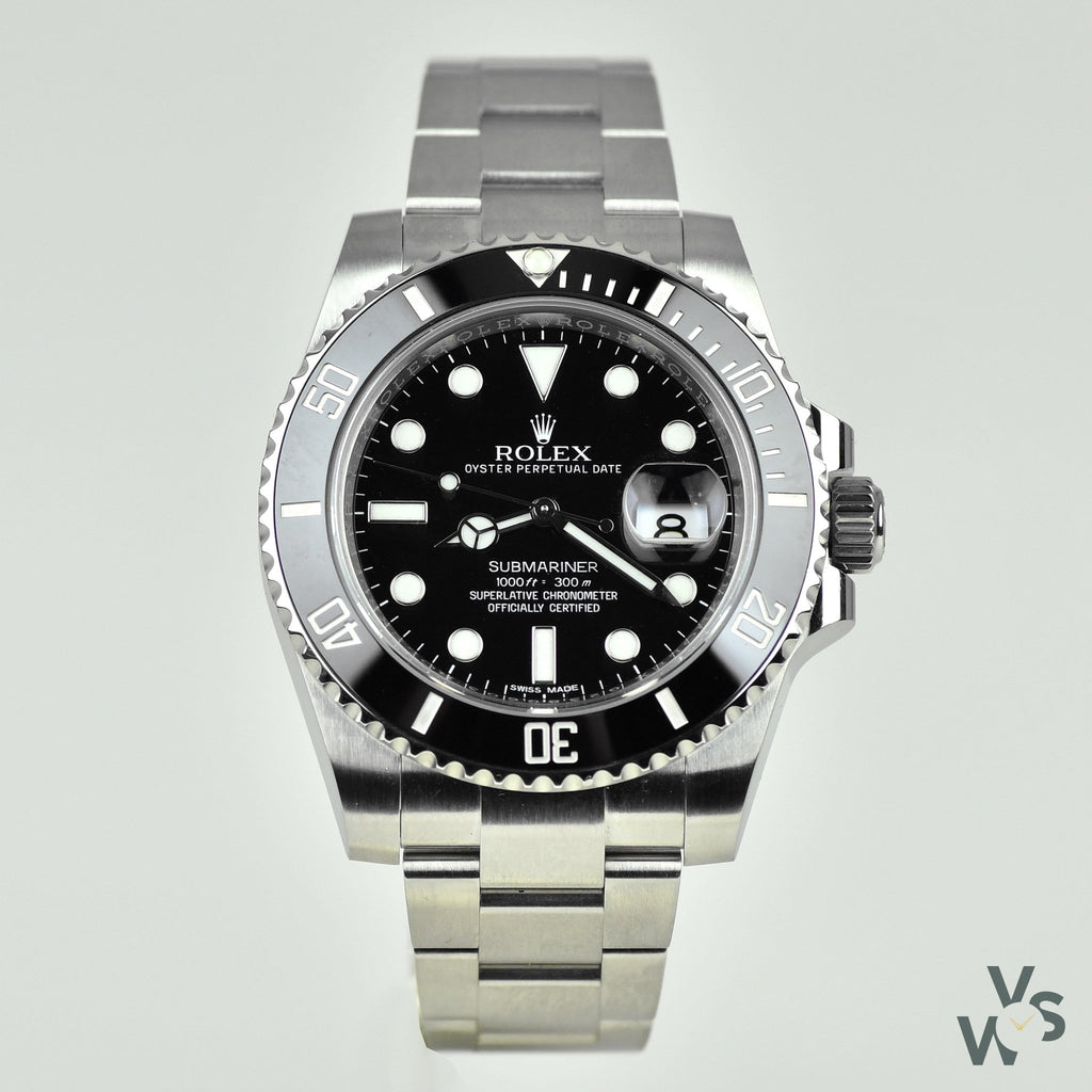 Gents Rolex Submariner Oyster Perpetual Date Wrist Watch In Oystersteel With Black Cerachrom Bezel and Black Dial. 116610LN. 2016. - Vintage