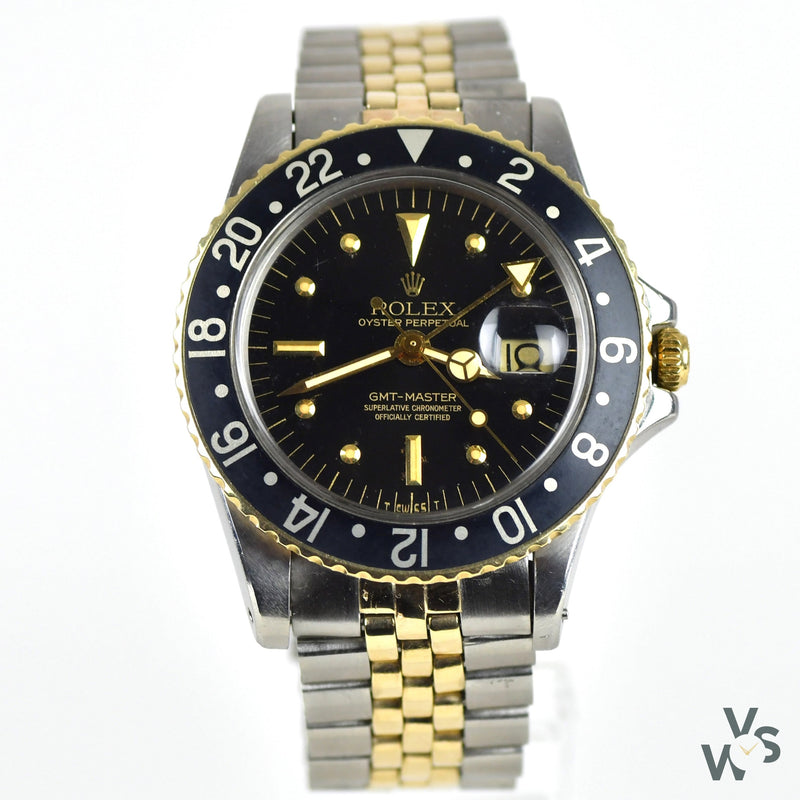 Rolex Steel and Gold GMT Nipple Dial Model Ref: 1675 - C. 1974 - Vintage Watch Specialist