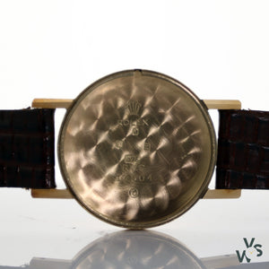 Tudor Rolex Small Rose 9K Gold Dress Watch Honeycomb Dial - Vintagewatchspecialist