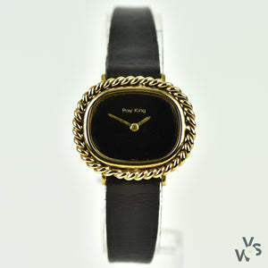 Vintage 1970s Roy King 9k Gold Ladies' Dress Watch - Twisted rope bezel - Black Dial - Vintage Watch Specialist
