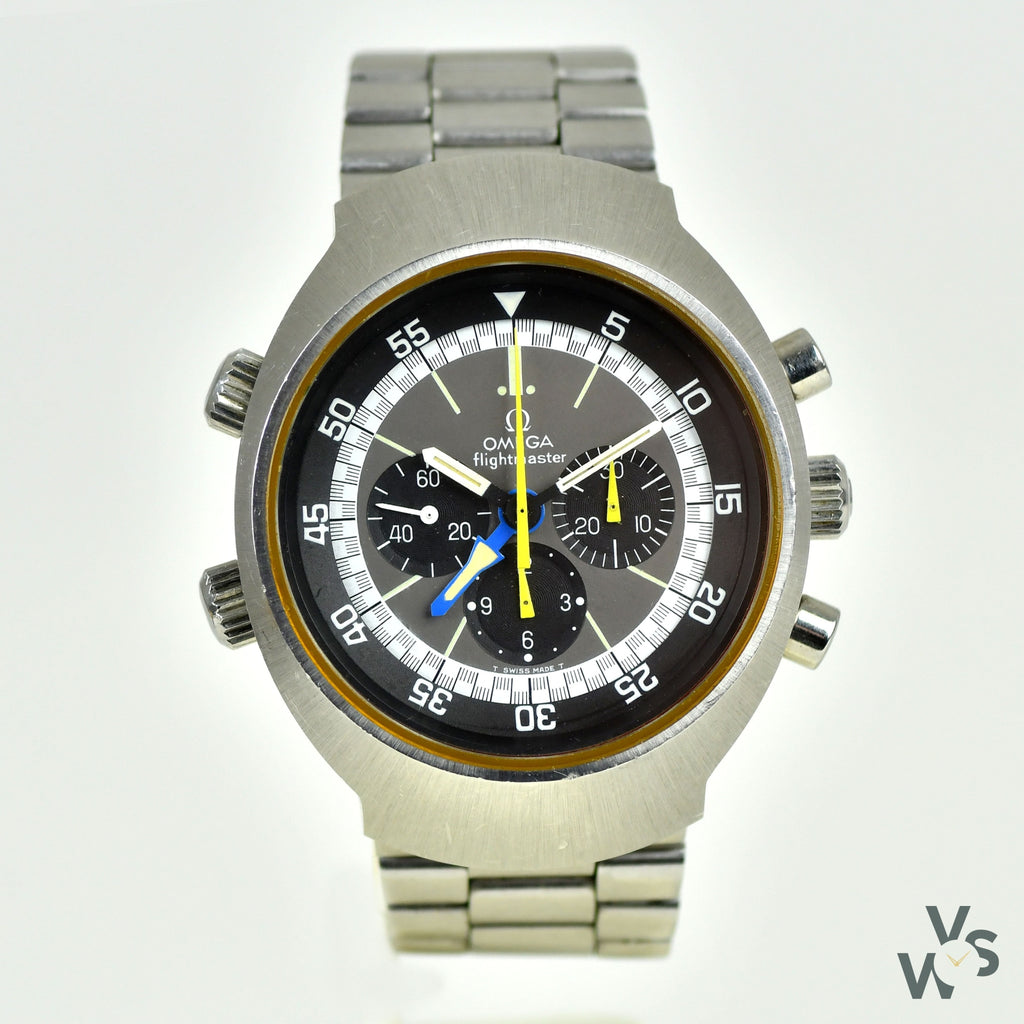 Vintage Gents Omega Flightmaster Chronograph GMT Watch with Yellow Hands - Ref. 145.036 - c.1975. - Vintage Watch Specialist