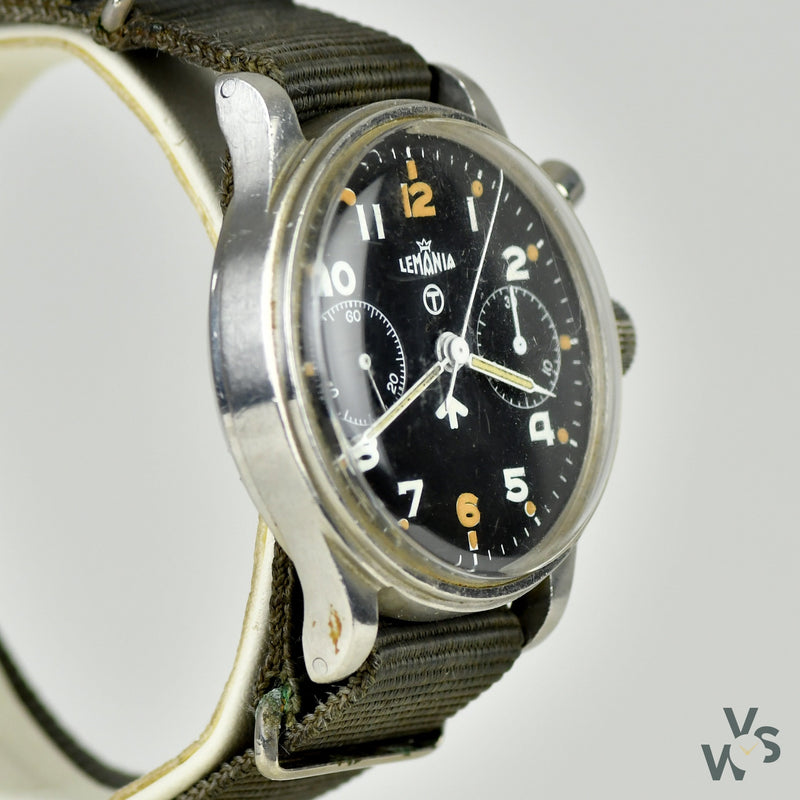 Vintage Lemania Single Pusher / Monopusher Military Royal Navy Issue Chronograph Wrist Watch. 0552/920-33056519. 1940's. - Vintage Watch