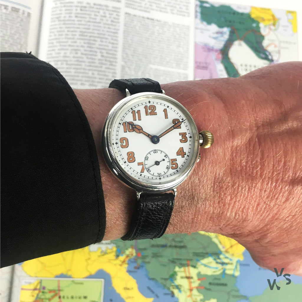 WW1 Borgel Cased Silver Trench Watch - Engraved 1917 - Recently Serviced - Vintage Watch Specialist