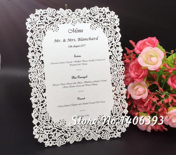 Rose Table Place Menu Card 20pcs/lot