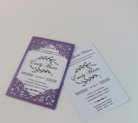 Lace Pocket Invitations Cards + Inserts + Envelopes