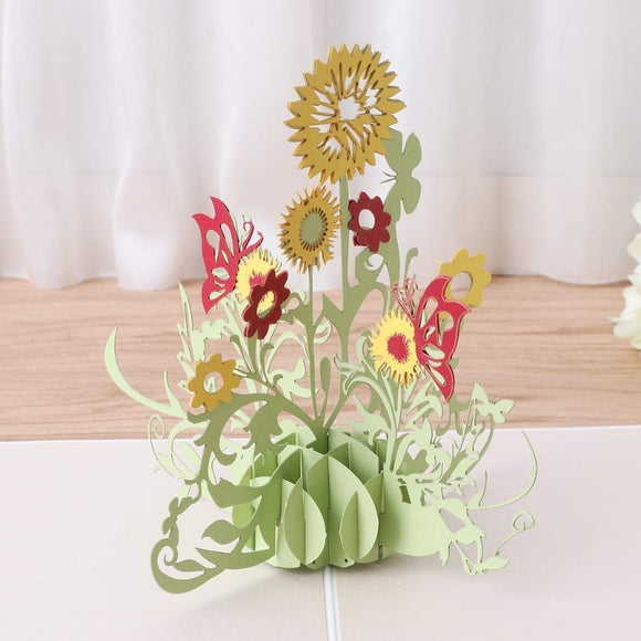 3D Sunflower Flower Greeting Card