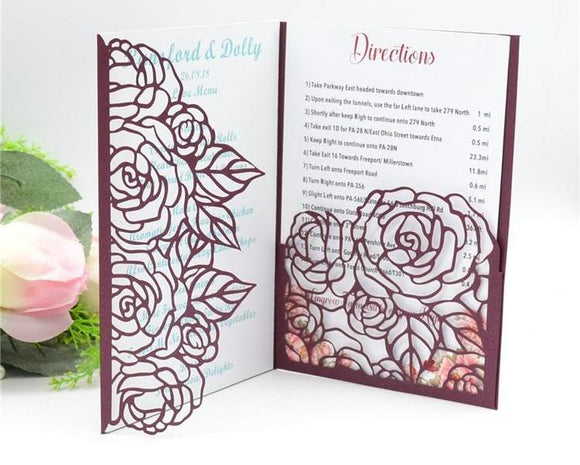 Laser Cut Rose Invitation
