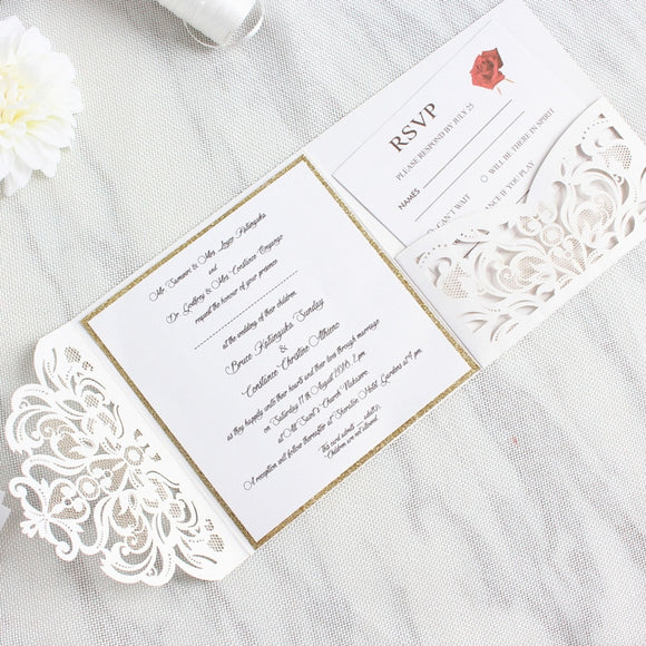Glittery Invitation Cards with Belly Band 50pcs/lot