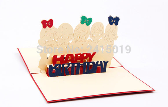 Handmade Happy Birthday Invitation Cards 5pcs/lot