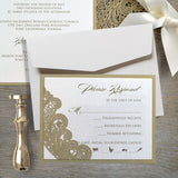 Gold Lace Elegant Wedding Invitations sets of 50