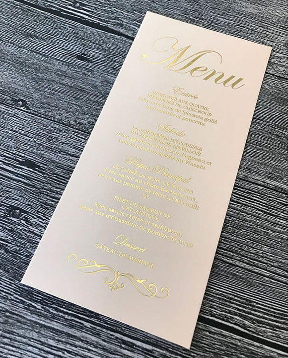 Flat Tall Wedding Menu Card 100pcs/lot