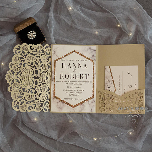 Modern Pocket Invitation Suite 50pcs/lot
