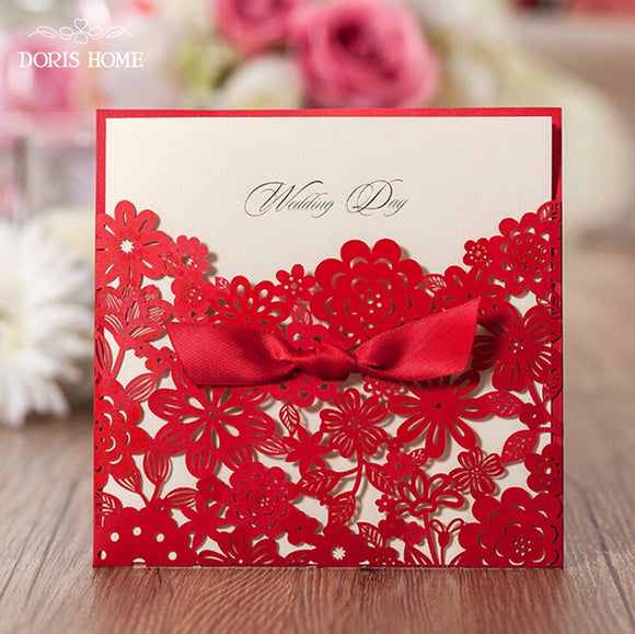 Red with Bowknot Lace Invitation Cards,100 Pcs/Lot