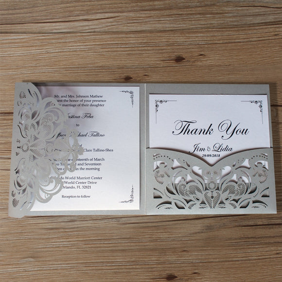 Gray Pocket Invitations Set of 50 pcs