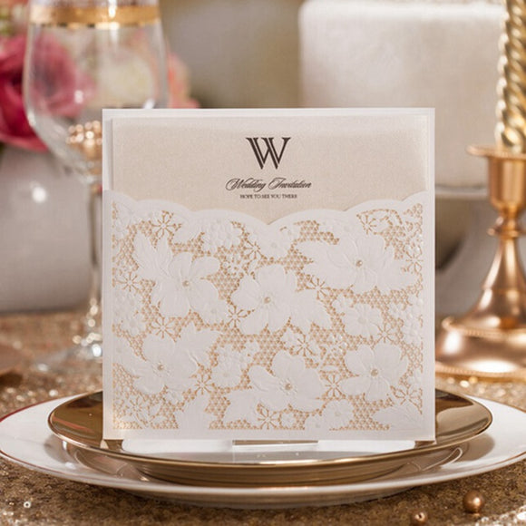 White Square Pearl Lace Invitations Card 100 Pcs/Lot